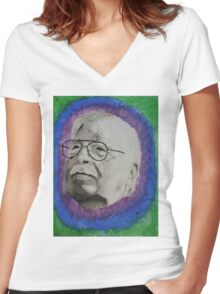 trippy grandpa Women's Fitted V-Neck T-Shirt