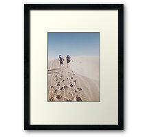 Hiking the Big Californian Sand Dune Framed Print