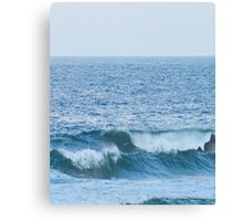 Blue and White Ocean Waves Canvas Print