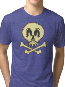 FUNNY SKULL MUSTACHE Tri-blend T-Shirt