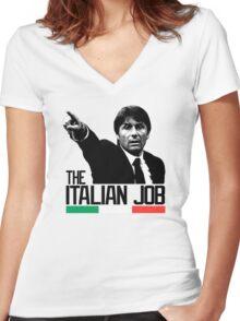 THE ITALIAN JOB ANTONIO CONTE EURO 2016 Women's Fitted V-Neck T-Shirt