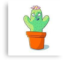 Cynical but Happy Cactus Guy Canvas Print
