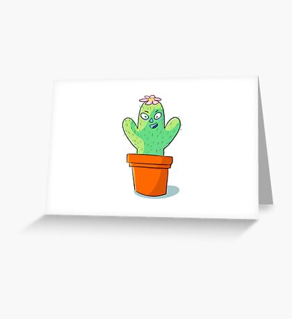 Cynical but Happy Cactus Guy Greeting Card