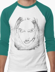 Woman's monochrome face on black Men's Baseball ¾ T-Shirt