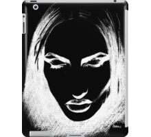 Woman's monochrome face on black iPad Case/Skin