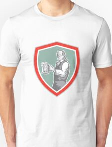 Benjamin Franklin Holding Beer Shield Retro Unisex T-Shirt