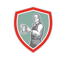 Benjamin Franklin Holding Beer Shield Retro by patrimonio