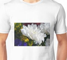 White flower macro, natural background. Unisex T-Shirt
