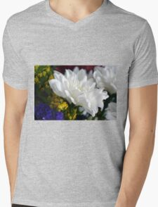 White flower macro, natural background. Mens V-Neck T-Shirt