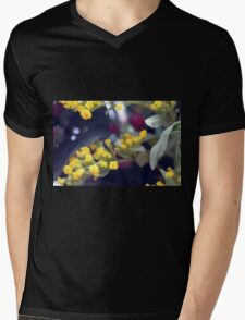 Natural background made in watercolor style with colorful flowers. Mens V-Neck T-Shirt