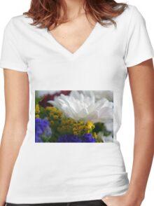 White flower macro, natural background. Women's Fitted V-Neck T-Shirt