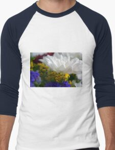 White flower macro, natural background. Men's Baseball ¾ T-Shirt