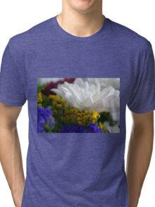White flower macro, natural background. Tri-blend T-Shirt