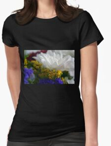 White flower macro, natural background. Womens Fitted T-Shirt
