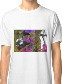 Natural background made in watercolor style with colorful flowers. Classic T-Shirt