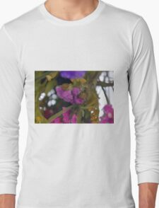 Natural background made in watercolor style with colorful flowers. Long Sleeve T-Shirt