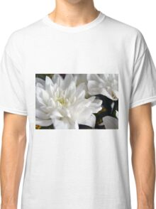 White flowers macro, natural background. Classic T-Shirt
