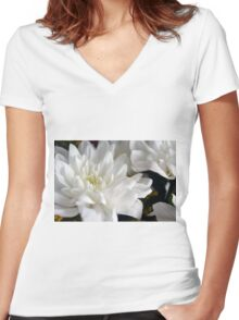 White flowers macro, natural background. Women's Fitted V-Neck T-Shirt