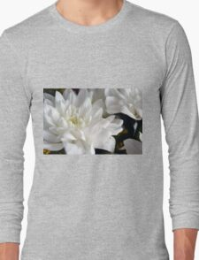 White flowers macro, natural background. Long Sleeve T-Shirt