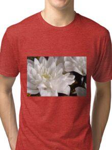 White flowers macro, natural background. Tri-blend T-Shirt