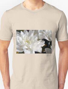 White flowers macro, natural background. Unisex T-Shirt