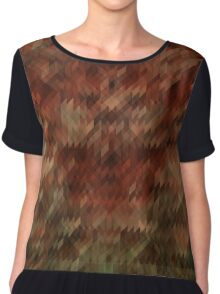 Red and green triangle texture Chiffon Top