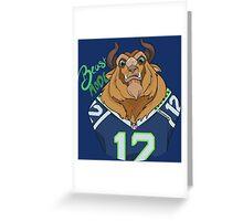 Seattle Seahawks Beast Mode 12th Man Fan Design Greeting Card