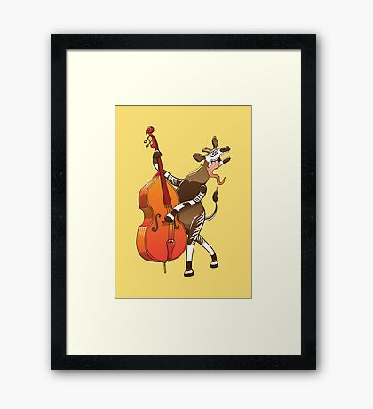 Cool Okapi Playing a Double Bass Framed Print
