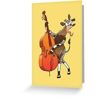Cool Okapi Playing a Double Bass Greeting Card