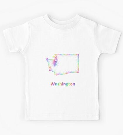 Rainbow Washington map Kids Tee