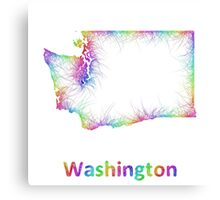 Rainbow Washington map Canvas Print
