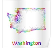 Rainbow Washington map Poster