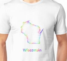 Rainbow Wisconsin map Unisex T-Shirt