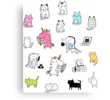 Cats. Dinosaurs. Unicorn. Sticker set. Metal Print