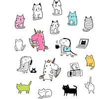 Cats. Dinosaurs. Unicorn. Sticker set. Photographic Print
