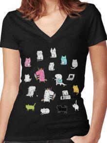 Cats. Dinosaurs. Unicorn. Sticker set. Women's Fitted V-Neck T-Shirt