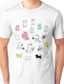 Cats. Dinosaurs. Unicorn. Sticker set. Unisex T-Shirt