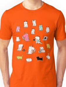 Cats. Dinosaurs. Unicorn. Sticker set. Unisex T-Shirt