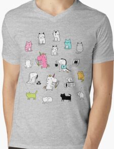 Cats. Dinosaurs. Unicorn. Sticker set. Mens V-Neck T-Shirt