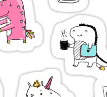 Cats. Dinosaurs. Unicorn. Sticker set. Sticker