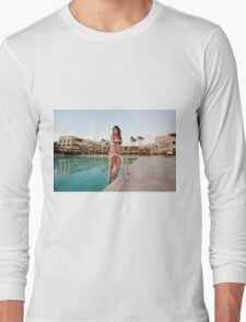 young woman by the swimming pool  Long Sleeve T-Shirt