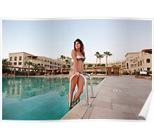 young woman by the swimming pool  Poster