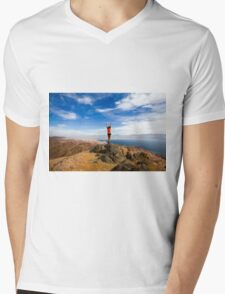 Female hiker celebrates her achievement on reaching the summit of the colourful Eilat mountains Mens V-Neck T-Shirt