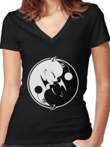 Final Fantasy - Yin Yang Mog Women's Fitted V-Neck T-Shirt