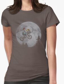 Bicycle scene - Pokemon E.T. Womens Fitted T-Shirt