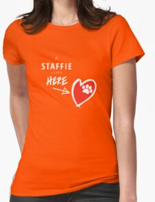 A Staffie Lives Here Womens Fitted T-Shirt