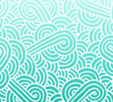 Ombre turquoise blue and white swirls zentangle Sticker