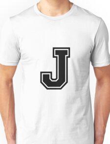 """Letter """"J""""  - Varsity / Collegiate Font - Black Print Unisex T-Shirt"""