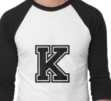 "Letter ""K""  - Varsity / Collegiate Font - Black Print Men's Baseball ¾ T-Shirt"