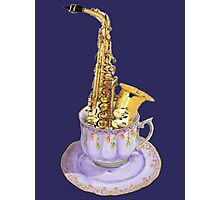 Music is Everyone's Cup of Tea - Saxophone Photographic Print